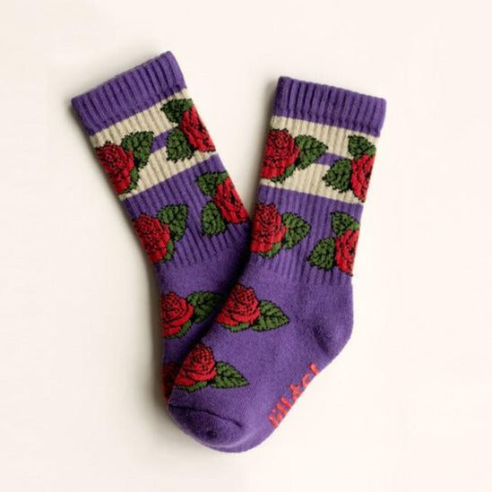 Purple Socks with Rose Print