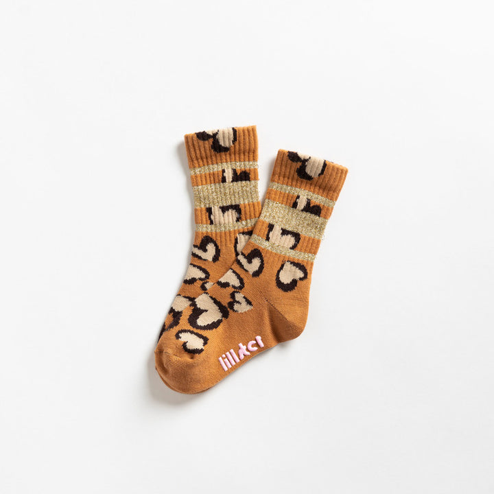 Glitter Leopard Heart Socks (gold)