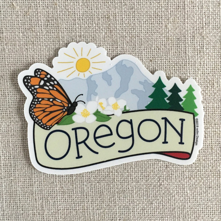 Oregon with Butterfly Sticker
