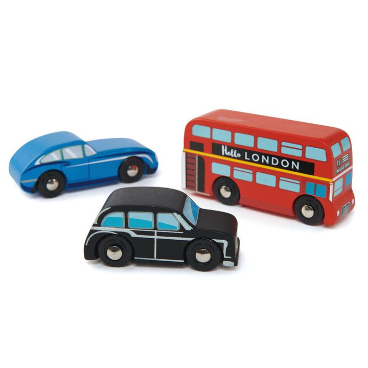 Tender Leaf Toys Wooden London Car Set (bus, car, taxi)