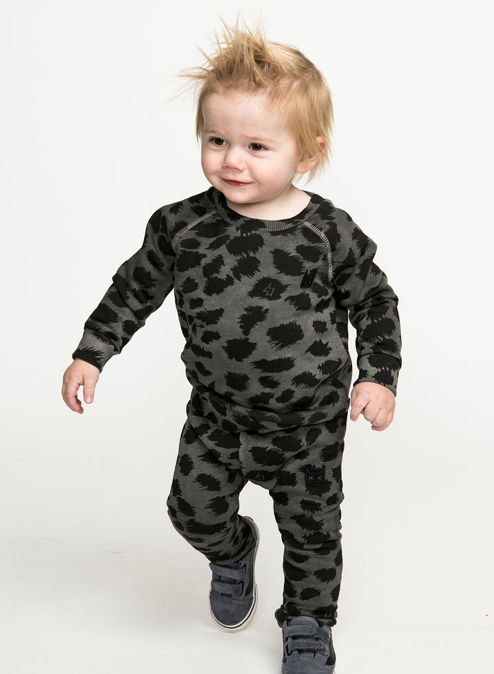 Munster Charcoal Leopard Fleece Track Pant - model