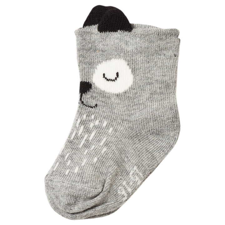 Melton Sleepy Dog With Ears Baby Socks (grey)