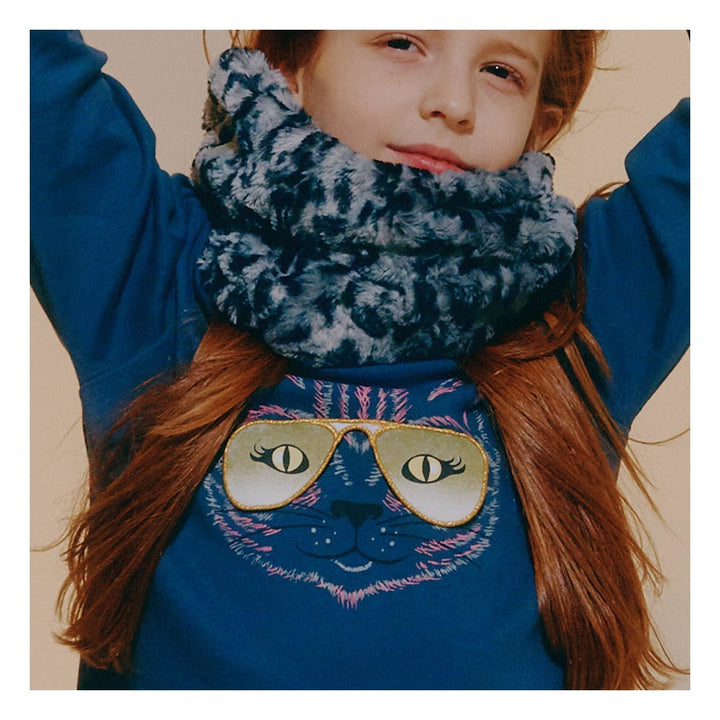 Milk on the Rocks Cat Eyes Long Sleeve Tee (blue)