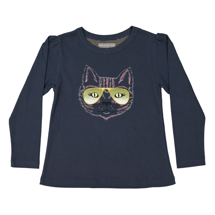 Milk on the Rocks Cat's Eyes Long Sleeve Tee (blue)