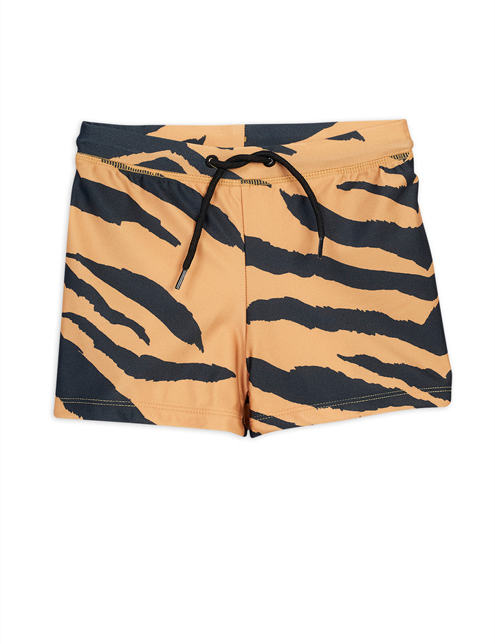 Mini Rodini Tiger Print Boys Swim Trunks