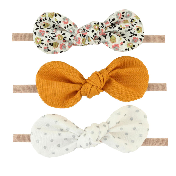 Britts Bows 3 Handmade Baby Bow Headbands (floral/mustard/silver)