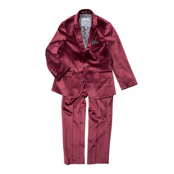 Appaman 2 Piece Velvet Mod Suit (burgundy)