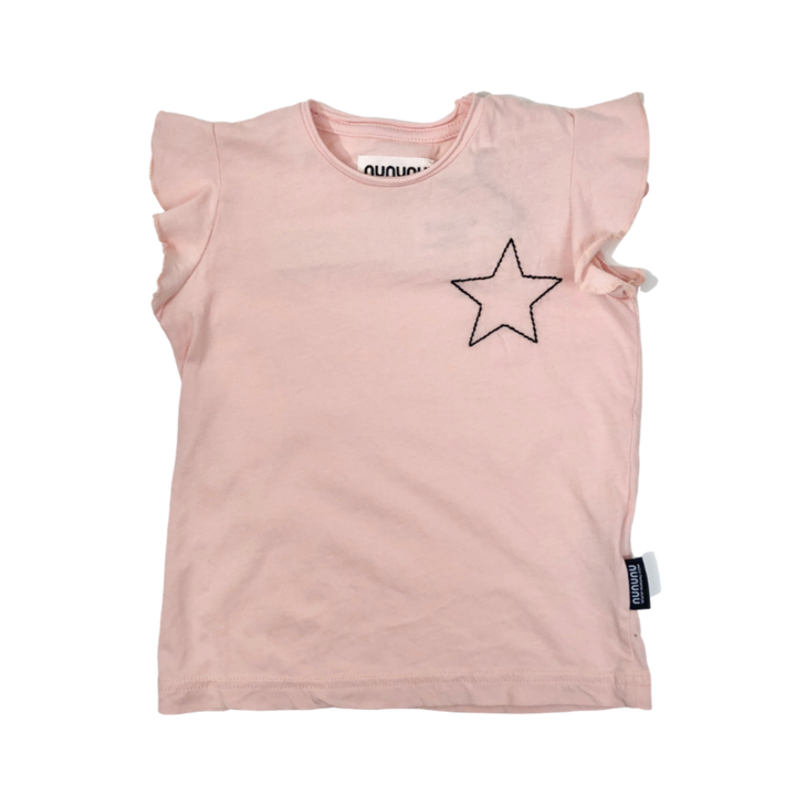 NUNUNU Embroidered Star Ruffle Tee (pink)