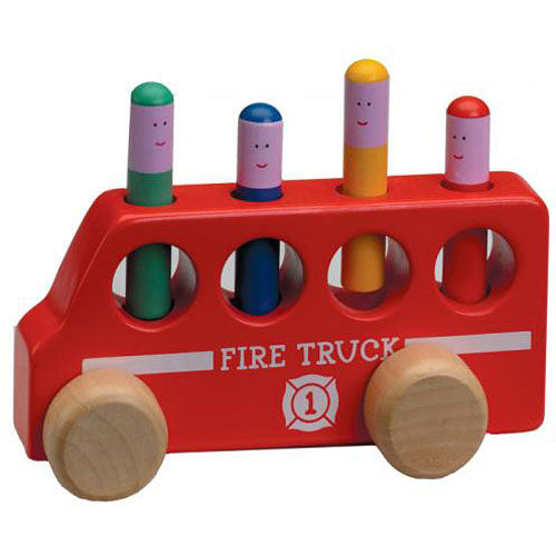 Wooden Pop Up Fire Truck for Toddlers