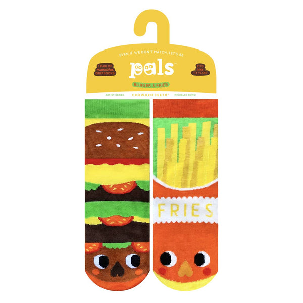 Pals Socks - Burger & Fries Mismatched Kids Socks