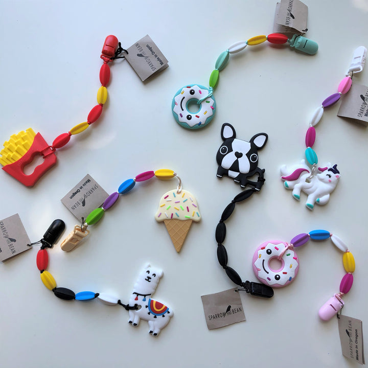 Silicon Teethers in Fun designs by Sparrow & Bean