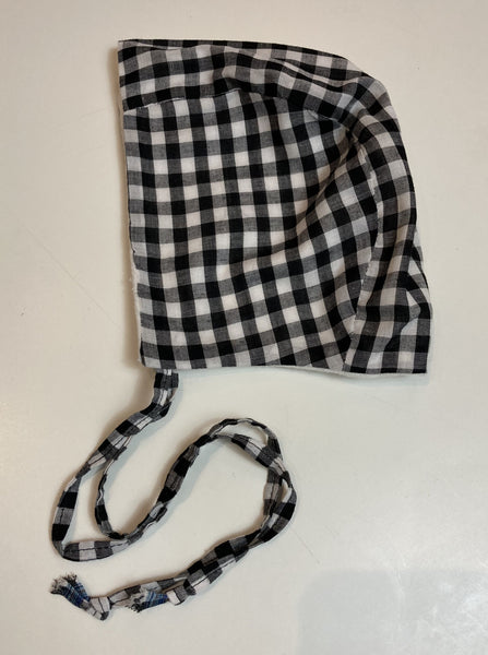 Cotton Gingham Black/White, Flannel Lined Infant Bonnet