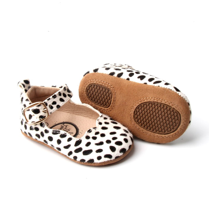 Soft Soled Moccasin Polka Dots (black/white)