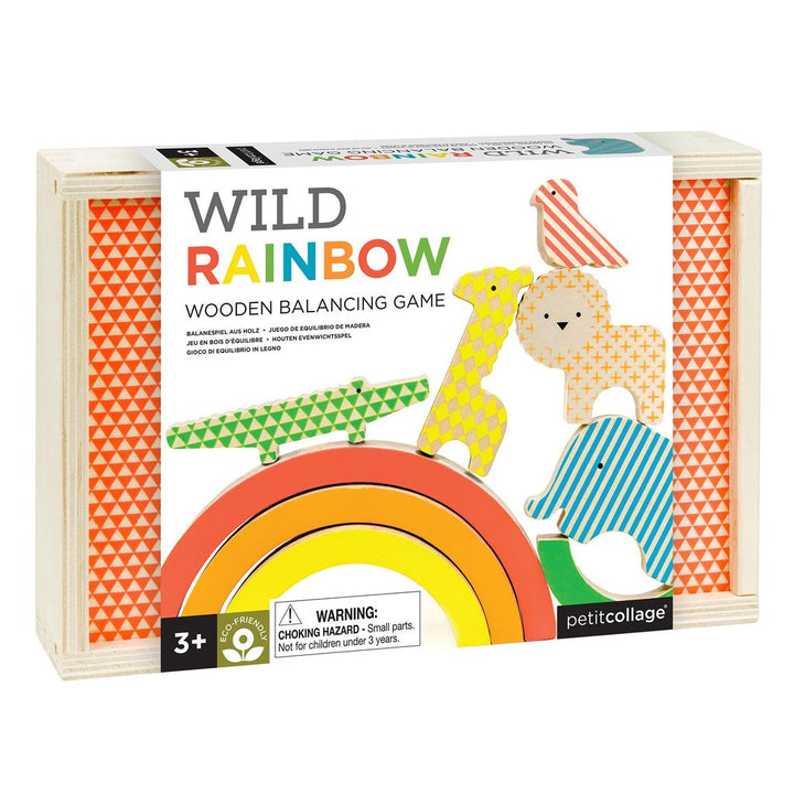 Petit Collage Wild Rainbow Wooden Stacker Game