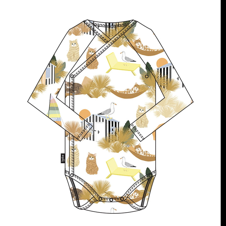 Hebe Wrap Onesie with Lazy Summer Cat Print
