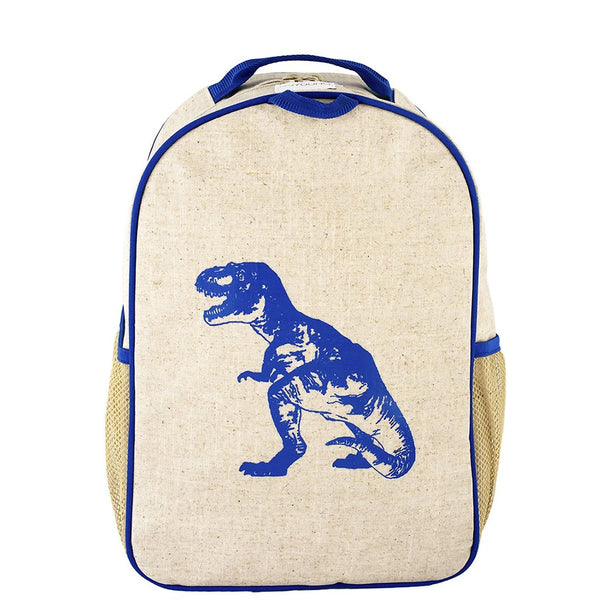 natural linen with bright blue dinosaur