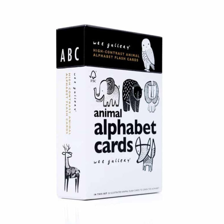 black and white ABC card box