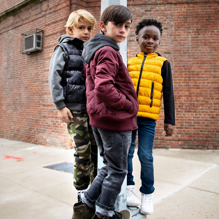 Kids Burgundy Bomber with Hood - lifestyle