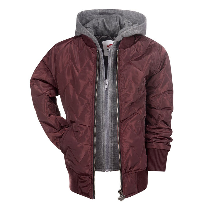 Kids Burgundy Bomber with Hood