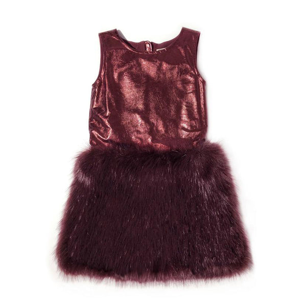 Appaman Faux Fur Eve Dress (wine red)