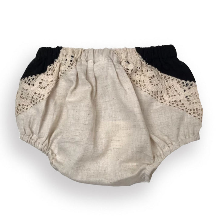 Crochet Lace Baby Bloomer Diaper Cover (natural/black)