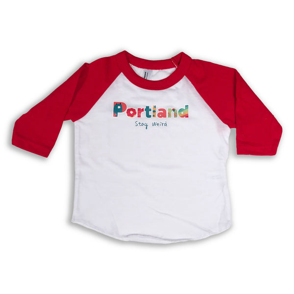 Portland Stay Weird Baseball Tee (white/red)
