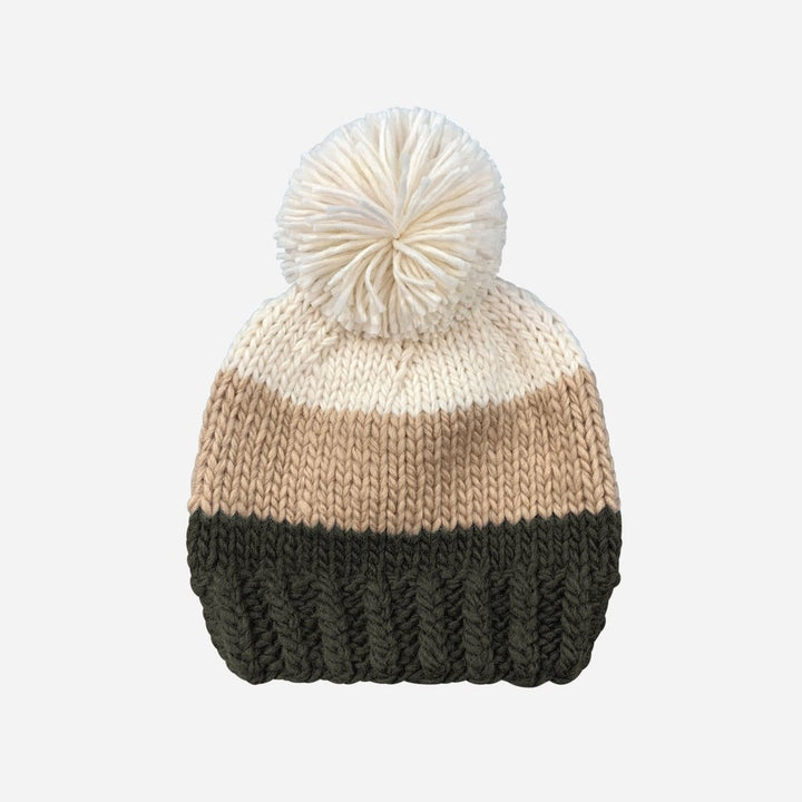 Blueberry Hill Tri-color Knit Hat - Cream/Latte/Dark Green