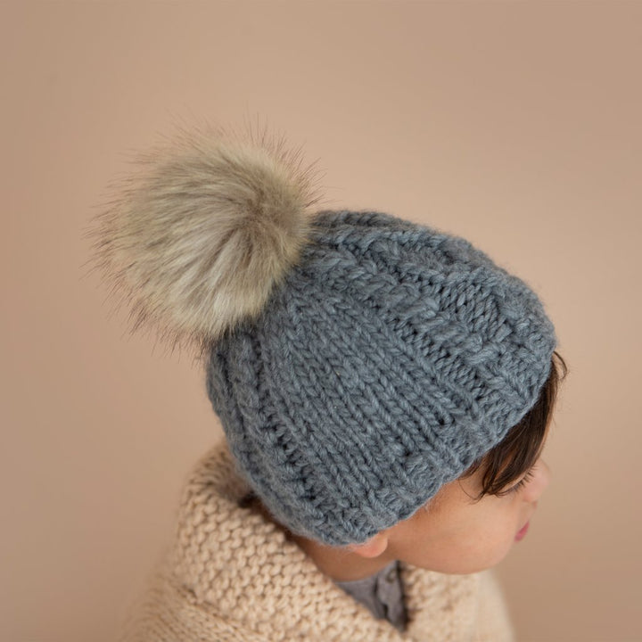 Stripe Knit Kid Hat with Pom in Grey - lifestyle