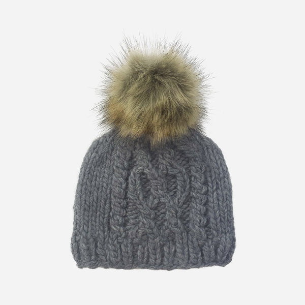 Stripe Knit Kid Hat with Pom in Grey