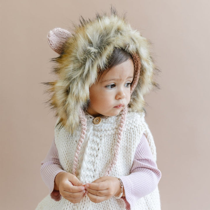 Knit Lion Faux Fur Hat  - lifestyle