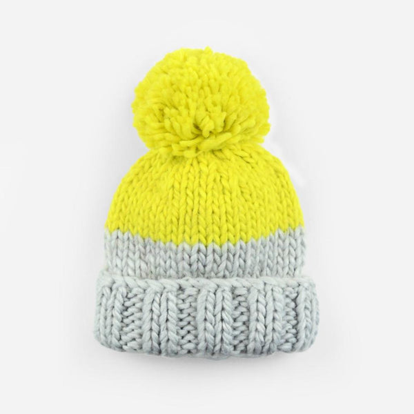 Baby Hand Knit PomPom Hat in Yellow/Grey