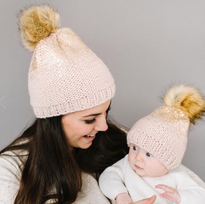Dogwood Pink with Gold and Pom Baby Hat