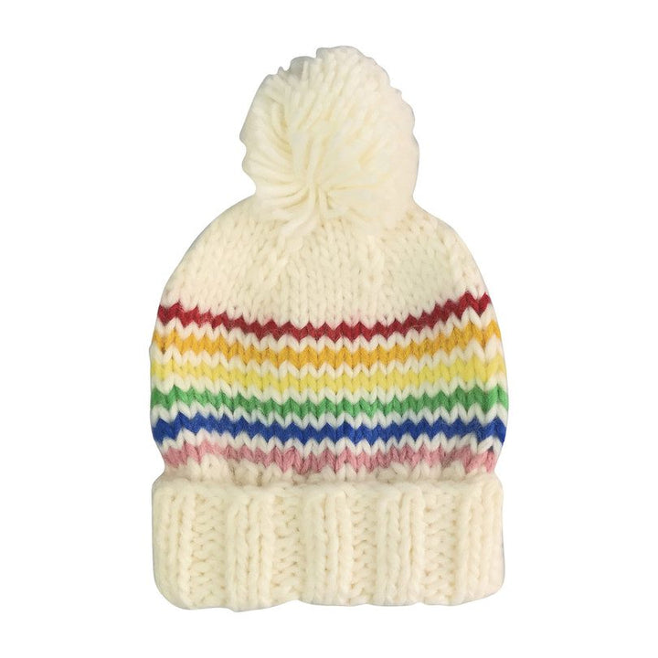 Rainbow Stripe Kids Hat with Pom