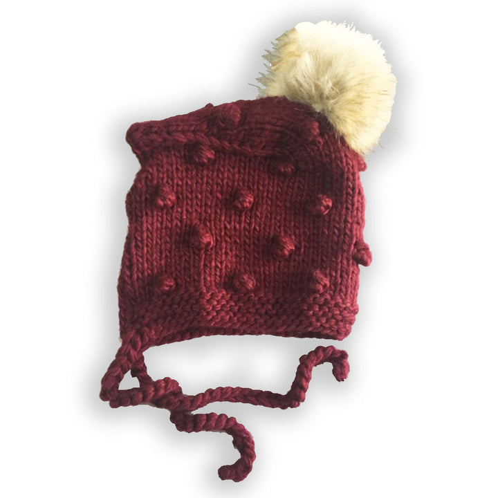 Knit Baby Bonnet with Faux Fur Pom (pomegrante)