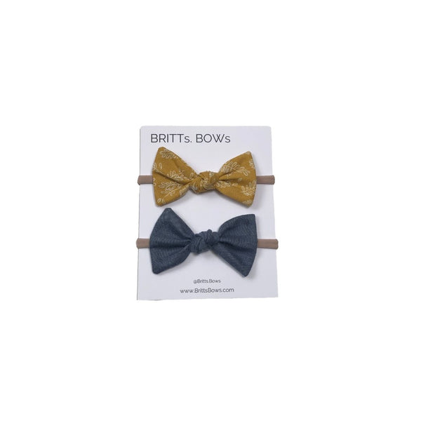 Britts Bows Handmade Headband Set of 2 (blue/mustard)