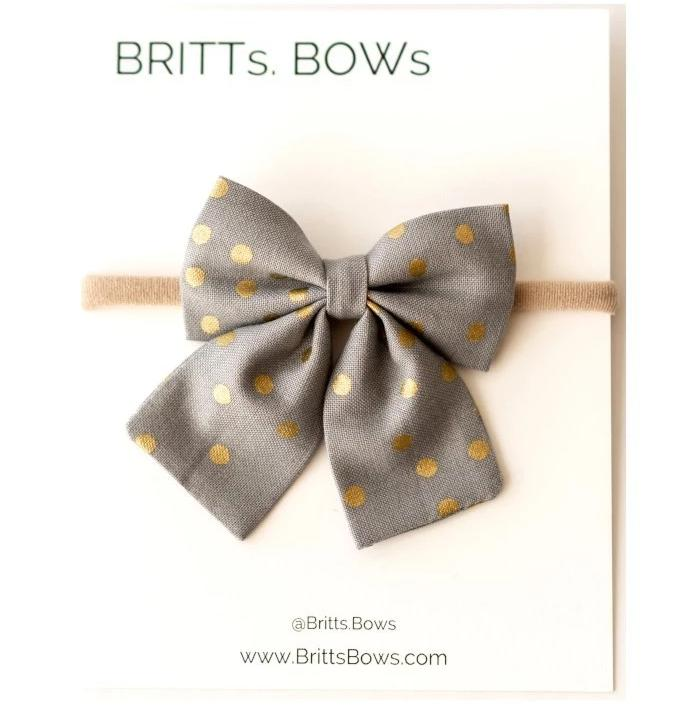 Handmade Baby Single Bow Headband (Gray/Gold Dot)