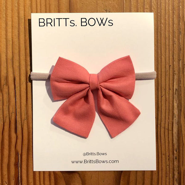 Handmade Baby Single Bow Headband (coral)