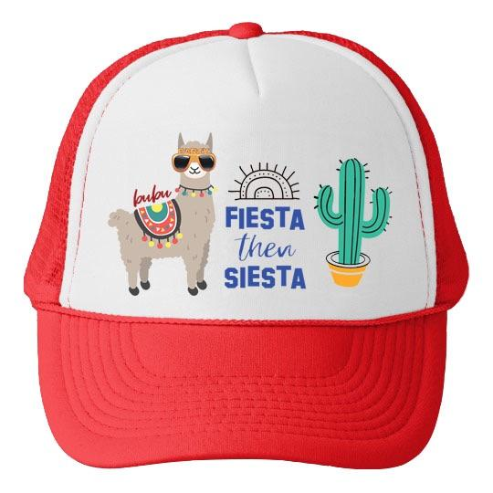 Bubu Fiesta Then Siesta White/Red Trucker Hat