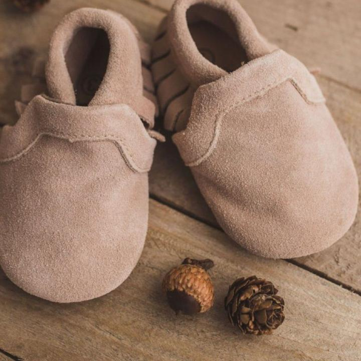 Soft Brown Leather Infant Moccasins