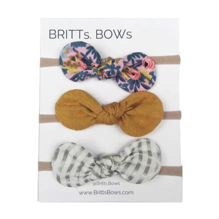 Britts Bows 3 Handmade Baby Bow Headbands (pink/mustard/silver stripe)