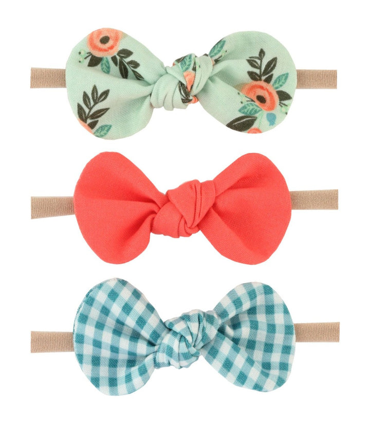 Britts Bows 3 Handmade Baby Bow Headbands (mint/salmon/turquoise)