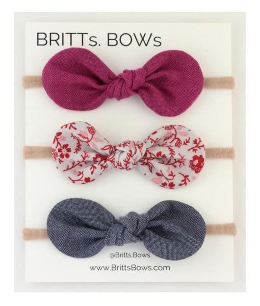 Britts Bows 3 Handmade Baby Bow Headbands (purple/floral/blue)