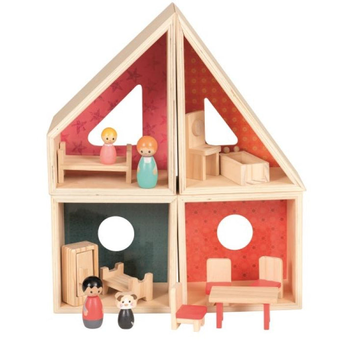 Wooden Doll House for Toddlers