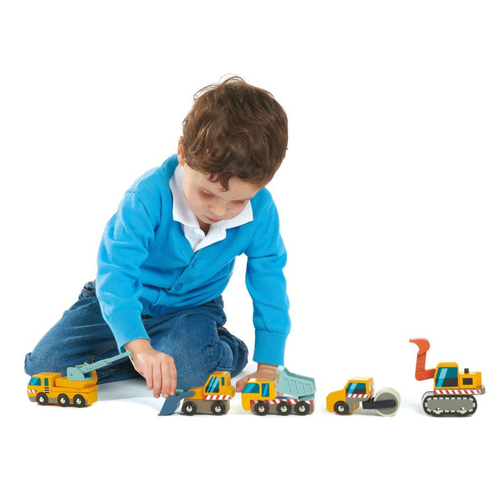 Wooden Construction Vehicle Push Toys (truck, loader, digger, crane, roller)