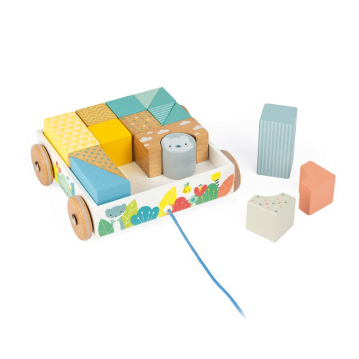 Janod Pull-Along Blocks  & Cart