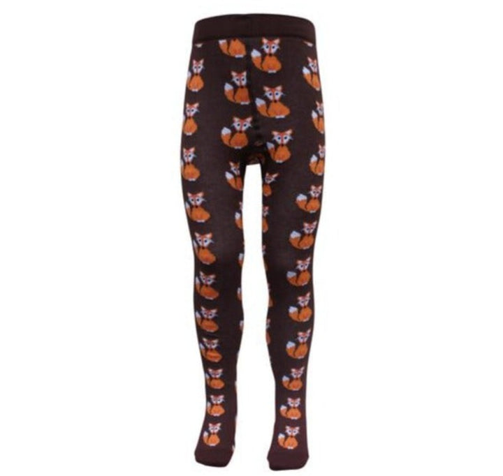 Slugs & Snails Fox Print Brown Kids Tights