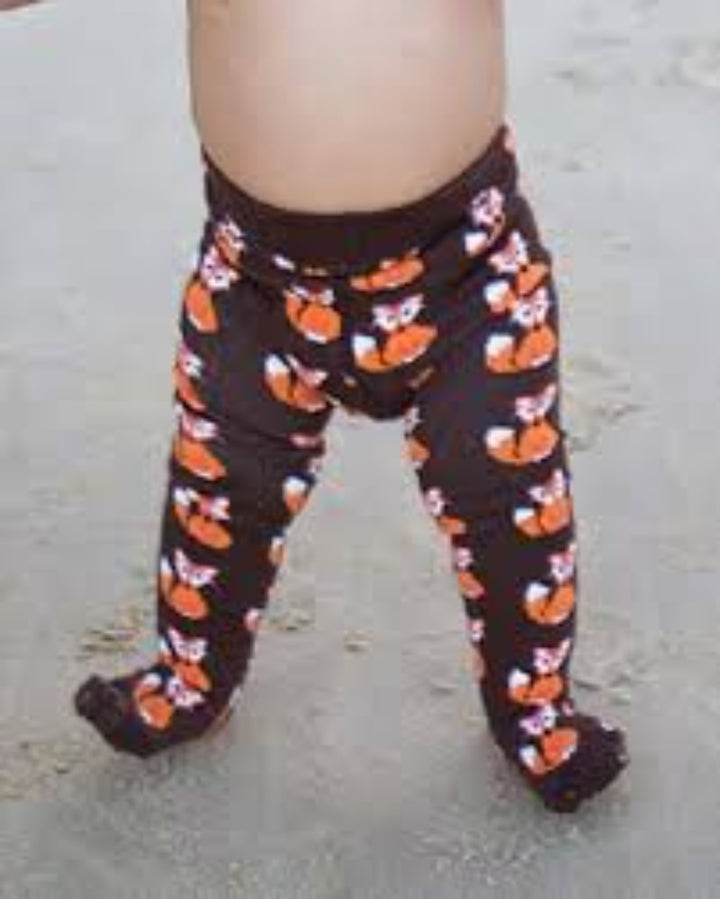 Slugs & Snails Fox Print Brown Kids Tights - lifestyle