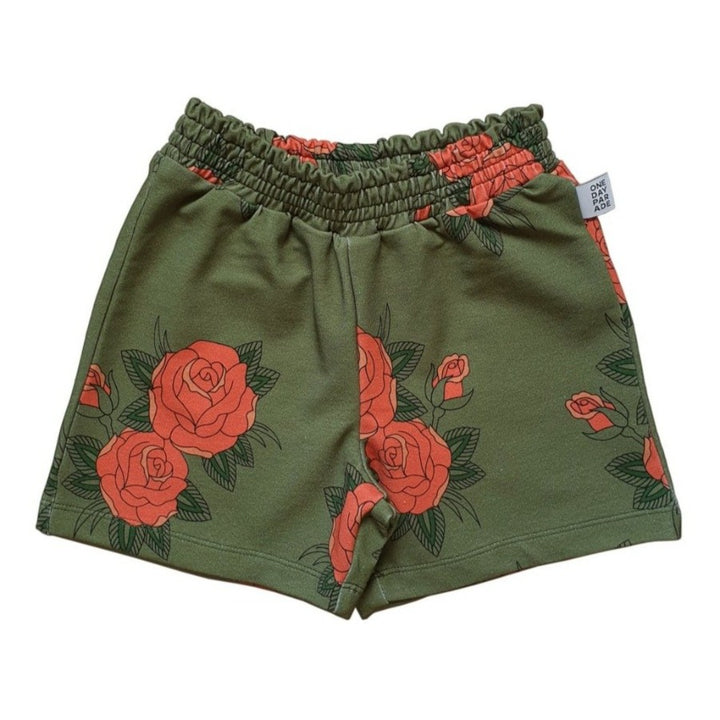 Kids Rose Print Green Shorts