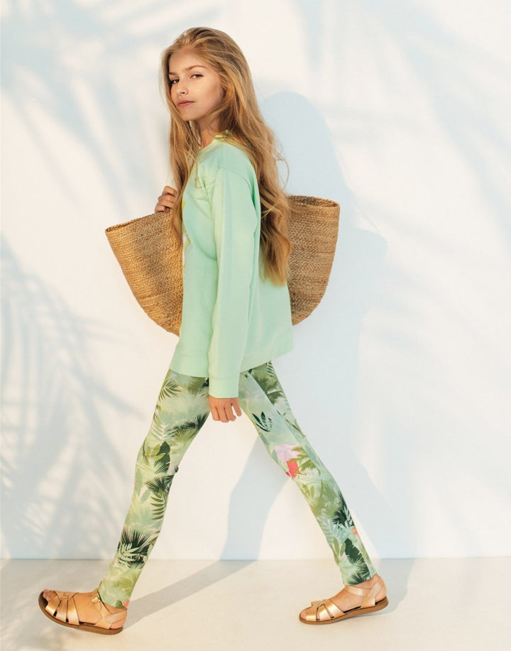 Hebe Organic Palm Print Leggings for Summer