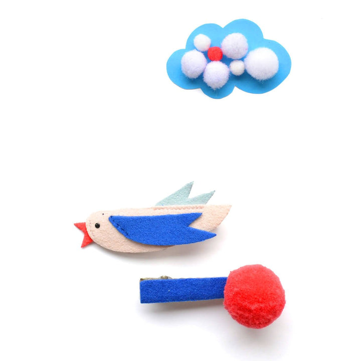 Hello Shiso Bird Pom Clips (blue/red)